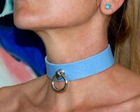 Abschließbares weiches BDSM Leder Halsband der O Ring gothic Fetish blau neu