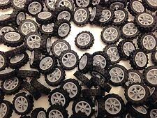LEGO 50861 50862 - Light Grey Motor Bike Cycle Wheel & Tyre / 4 Wheels & Tyres