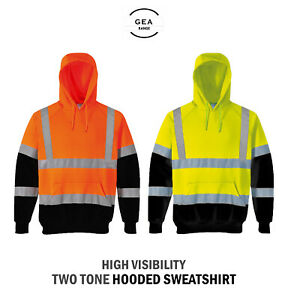High Vis Safety Two Tone Pullover Hooded Sweatshirt Reflective Workwear HV313