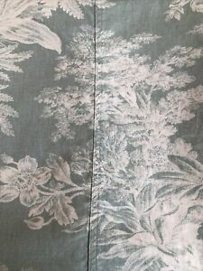 POTTERY BARN~GREEN~CREAM~TOILE PRINT~FLORAL~TREES~LINEN~COTTON SHOWER CURTAIN