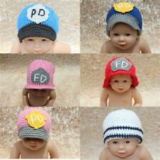 Wholesale Lot 10 Knit Cotton Newborn Baby Child Policemen FD Hat Photo Prop Hats