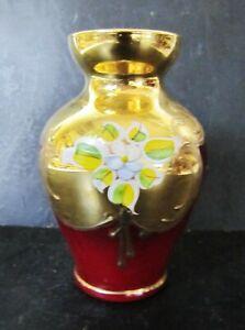 Italian Gilded + Enameled Hand Painted on Cranberry Flashed Glass BUD/POSY VASE