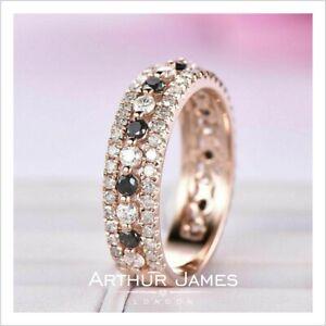 Diamond ring Round Black White Eternity Wedding Band Gemstone Engagement Rose Fn
