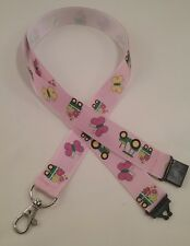 Tractor trailer pink ribbon lanyard safety clip ID badge holder gift student z