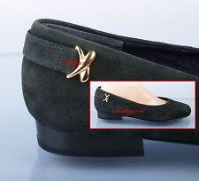 Högl Shoe klassische Ballerinas Flats Schleife in Gold echt Leder Neu Tannengrün