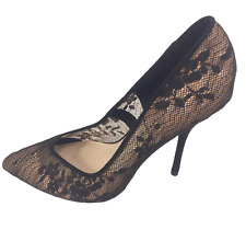 Womens Ladies Black Lace Faux Suede High Heel Party Court Shoes Size UK 6 New