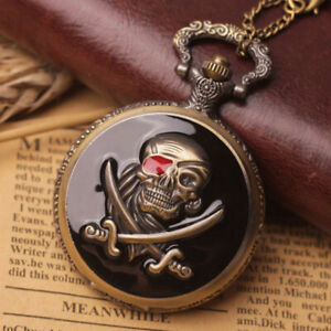 High Quality Stylish Unique Design Bold Skull Chain Unisex Pocket Wrist Watch