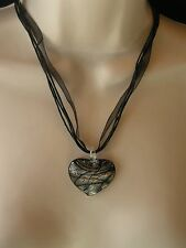 ACRYLIC HEART SHAPED PENDANT ABSTRACT DESIGN IN BLACK, SILVER & GOLD