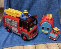 ELC Happyland Large Fire Engine & Fire Shed - 3 Figures Lights & Sounds Work