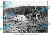 OLD 8x6 PHOTO FEATURING ZEEHAN TASMANIA QUEEN SILVER EXTENDED MINE c1900