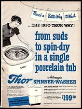1950 THOR Spinner Washer Washing Machine Laundry Vintage PRINT AD