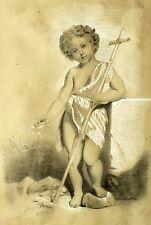 Ancien dessin fusain signé Jacque HULISSE daté 1862 Pas de vitre Etat voir photo