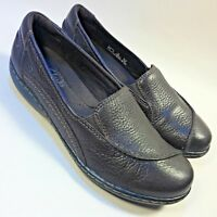 Women's Clarks Collection Brown Leather Loafers Shoes Slip-on Casual Comfort-7 M