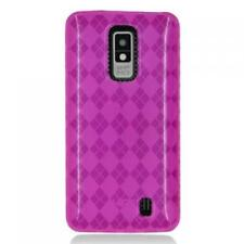 For LG Spectrum VS920 TPU Candy Flexi Gel Skin Case Phone Cover Hot Pink Plaid