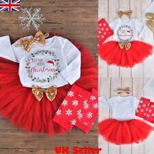 XMAS Newborn Baby Girl Christmas Clothes Romper Tops Tutu Skirt Outfits 4Pcs Set