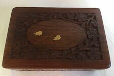 Hand Carved Wood Catch All/Trinket Box