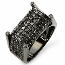 2.75 Ct Round Cut Black Diamond In 10K White Gold Over Mens Right Hand Ring