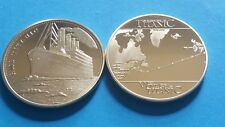 1 Oz RMS TITANIC 1912 GOLD PLATED COIN VOYAGE OF THE TITANIC SAILING ROUTE MAP