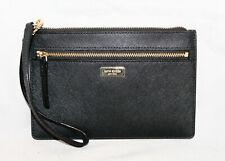 KATE SPADE WLRU2677 Laurel Way Tinie Black Leather Zip Wristlet Wallet Gold Hdwr