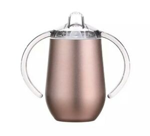 Stainless Steel Sippy Cup With Handles Baby Toddler Rose Gold Brand New