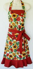 Sunflower Apron, Sunflowers, Womens Full Apron, Cute Retro Apron, Handmade