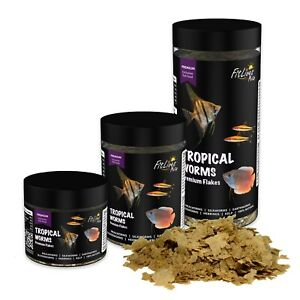 Fit Lives Pets Tropical Worms Premium Flakes carnivore cichlids Freshwater Food