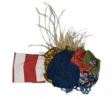 Beautiful Persnickety Flower Field Headband Red/Orange/White Stripe Small!
