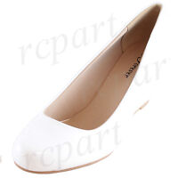 New women's shoes round close toe high heel wedge white summer casual work