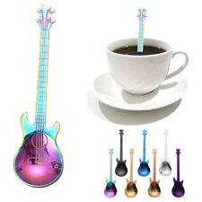 Stainless Steel Guitar Spoons Rainbow Coffee Tea Spoon Flatware Drinking Tool YH