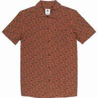 Element Mens Shirt Orange Size XL Printed Front Pocket Button Up $50 #022