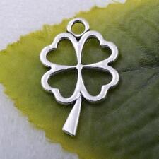 Free ship 6pcs tibetan silver Four Leaf Clover charm pendant 18x29mm #5235