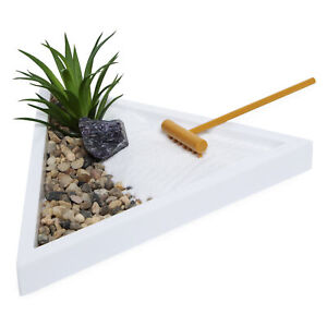 Stress Relief Mini Meditation Triangle Zen Garden Table Décor Kit w/ Rake & Sand