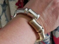 ✨HIP✨ 32g sterling silver 925 ITALY gold wash/silver bypass cuff bangle bracelet