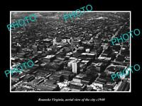 OLD LARGE HISTORIC PHOTO OF ROANOKE VIRGINIA, AERIAL VIEW OF THE CITY c1940