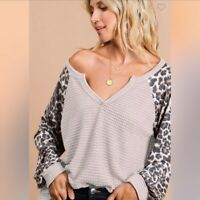 NWT Bibi CHIC BoHo Hippie Balloon Sleeve Leopard Waffle Knit Top Large
