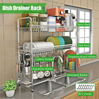 2 Tier Dish Drainer Drying Rack Kitchen Storage Stainless Steel Shelf Organizer