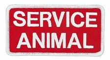"SERVICE ANIMAL (J03) White/Red Hook & Loop Embroidered Patch 4"" X 2"" 27052"