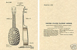 KAMAKA UKULELE US PATENT Art PrintREADY TO FRAM!! UKE Pineapple 1928 Samuel