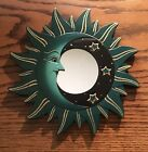 """MOON & STARS MIRROR 8"""" Hand Carved & Painted NEW GREEN"""
