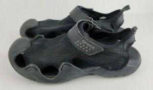 Crocs Mens Size 8 Black Swiftwater Casual Mesh Comfort Fisherman Sandals 15041