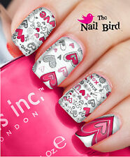 VALENTINE NAILS 'VALENTINE LOVE DOODLES 20 Nail Decals Nail Transfers Nail WRAPS