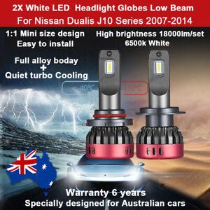 For Nissan Dualis J10 2007-2014 Low Beam Headlight Globes 18000LM 12V LED Bulbs