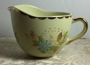 Anthropologie Creamer Small Pitcher Gravy Bowl Blue Gold Ivory Floral