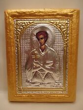 Saint John The Russian Catholic & Orthodox Icon Embossed Metal Art on Wood