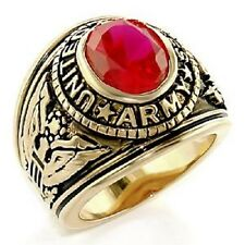 18K EP GOLD  US ARMY MILITARY INLAY RING sz 13   RUBY