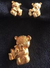 Vintage Teddy Bear Pin/Brooch Earrings Franklin Mint 1979 Limited Edition 24K EP