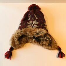 Baby Gap Trapper Hat Red/gray Faux Fur Lined Size S/M