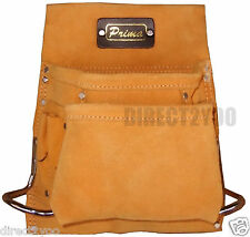 Heavy Duty Leather Tool Belt Single Pouch 8 Pockets 2 Metal Hammer Holder Nails