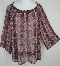 Knox Rose XL Medallion Crinkled Pleats Fluttery Kimono Scoop Boho Peasant Top