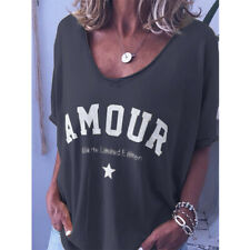 Women Summer Short Sleeve Solid Print T Shirt Crew Neck Casual Blouse Tunic Top